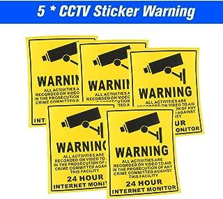 Sazoley 5pcs/lot Safurance Waterproof Sunscreen PVC CCTV Video Surveillance Security Camera Alarm Sticker 24 Hour Monitor ...