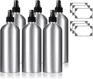 16 oz Large Aluminum Empty Refillable Black Fine Mist Spray Bottle - (6 Pack) + Labels