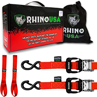 RHINO USA Ratchet Straps Motorcycle Tie Down Kit, 5,208 Break Strength – Includes..