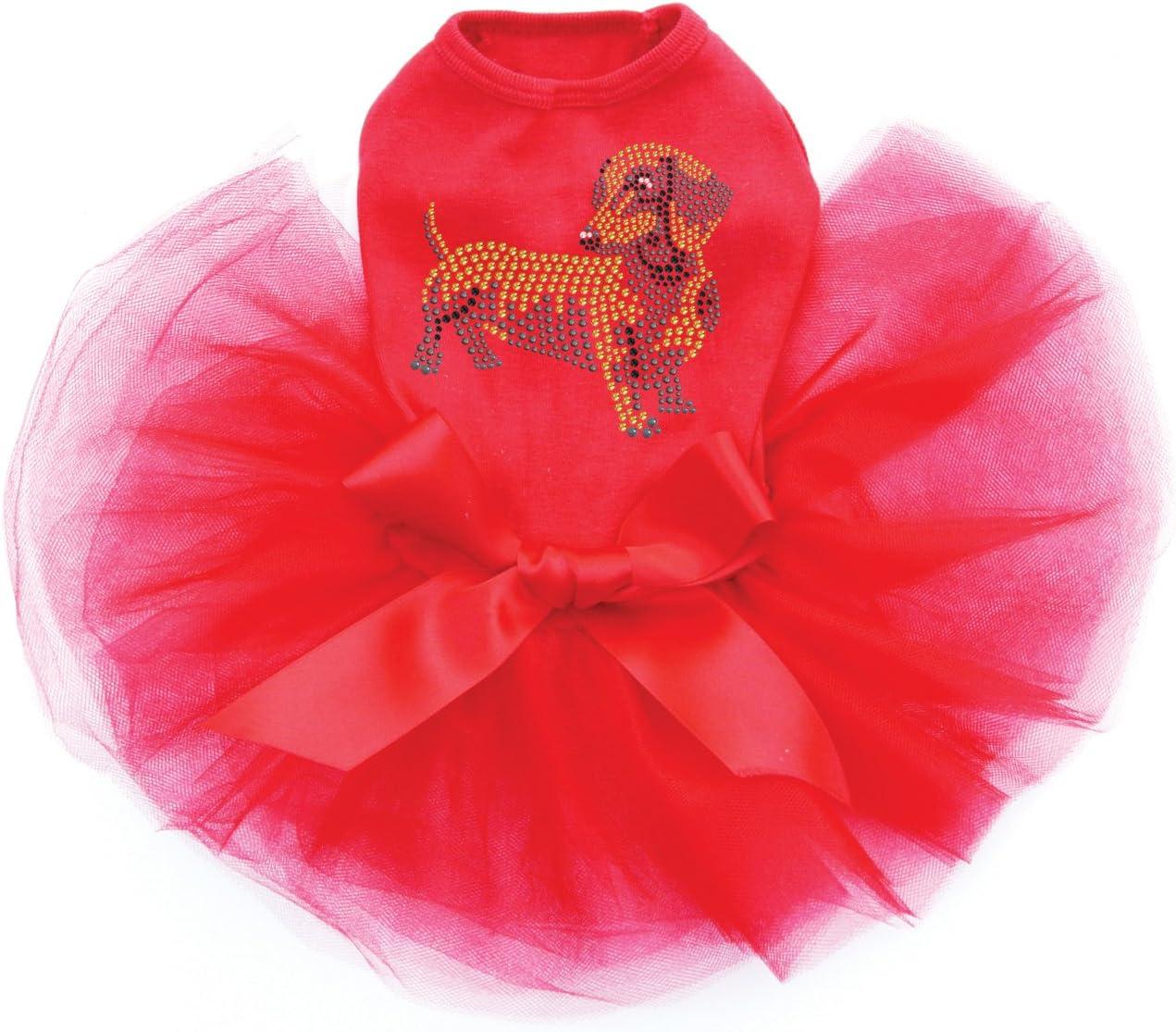 Dachshund Factory outlet # 2 Bling Rhinestone Dress overseas Dog Red Tutu M