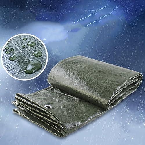 SEBAS Home Tissu antipluie imperméable à l'eau de bache de Voiture agricole épaississement bache de Tente Tente d'ombrage Tissu Anti-Corrosion Anti-Gel, Vert armée (Couleur   A, Taille   4x6M)