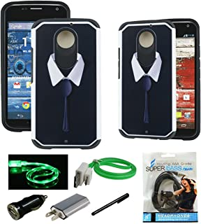 Moto X (2nd Gen) Case, Mstechcorp [Dual Layer Series] Heavy Duty Hybrid Armor Protector Case For Motorola Moto X 2nd Generation - Includes Accessories (Black Tie)
