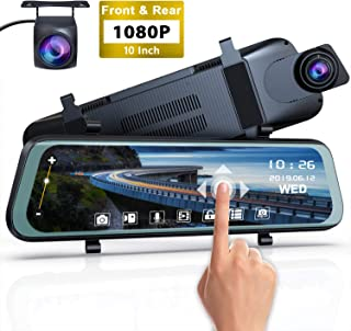 Mirror Dash Cam Front and Rear - 1080P Full HD Stream Media Dual Lens Car Camera ,10 Inch Full Touch Screen with 1080P Backup Camera, Super Night Vision, G-Sensor, Parking Monitor, Loop Recording.