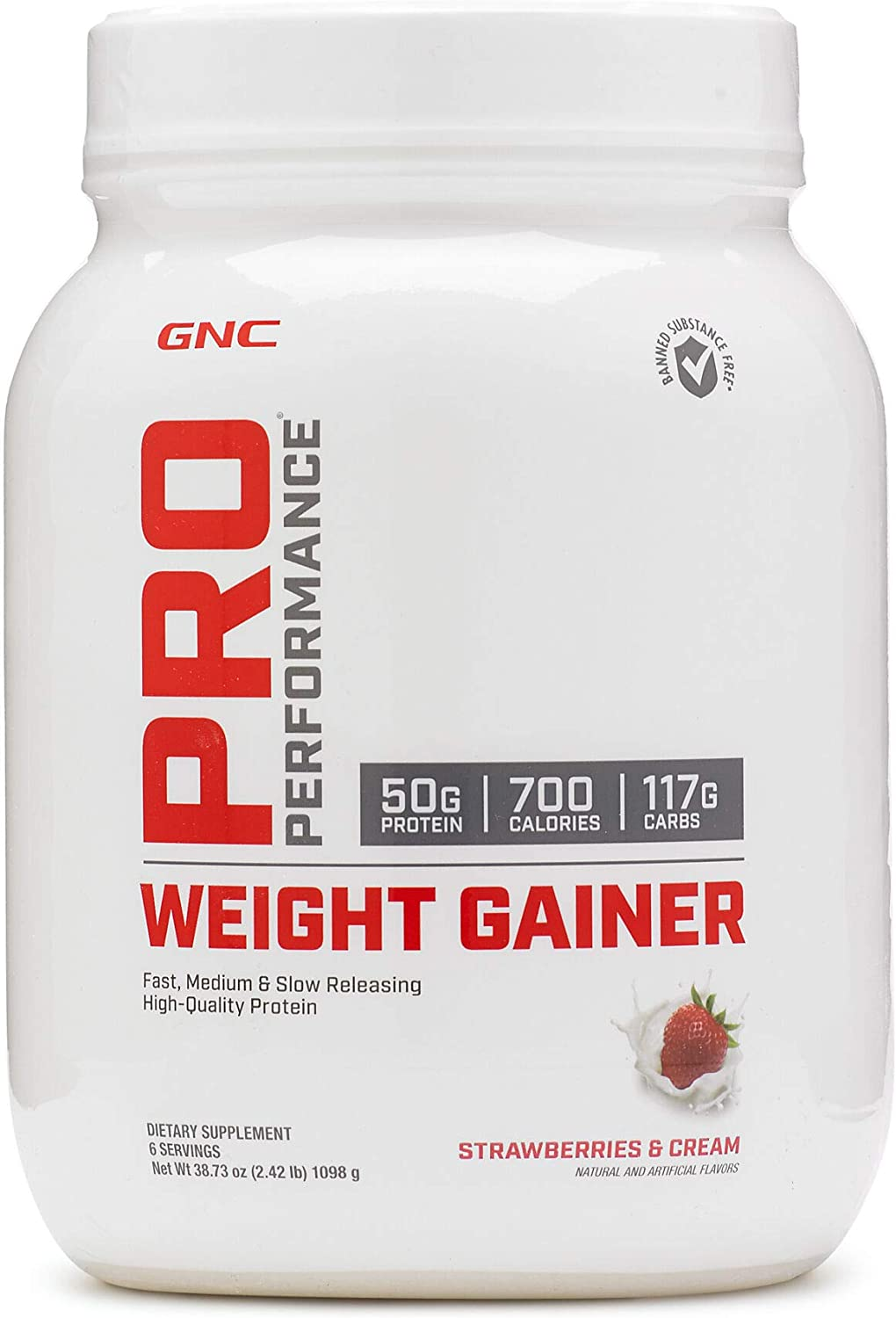 GNC Pro Performance Regular dealer Weight Max 50% OFF Gainer - Se and Cream Strawberries 6