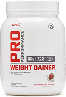 GNC Pro Performance Weight Gainer, Strawberries and Cream, 6 Servings