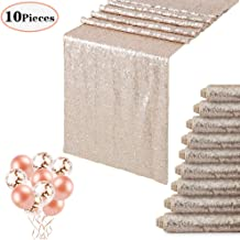 10-Pack Champagne Blush Sequin Table Runner 12x108 Inches Sequin Tablecloth Wholesale Sequin Table Runners Wedding table runners with Confetti Balloons