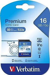 Verbatim Premium U1 SDHC Speicherkarte   16GB, Klasse 10, bis zu 80 MB/s Lesegeschwindigkeit, schwarz