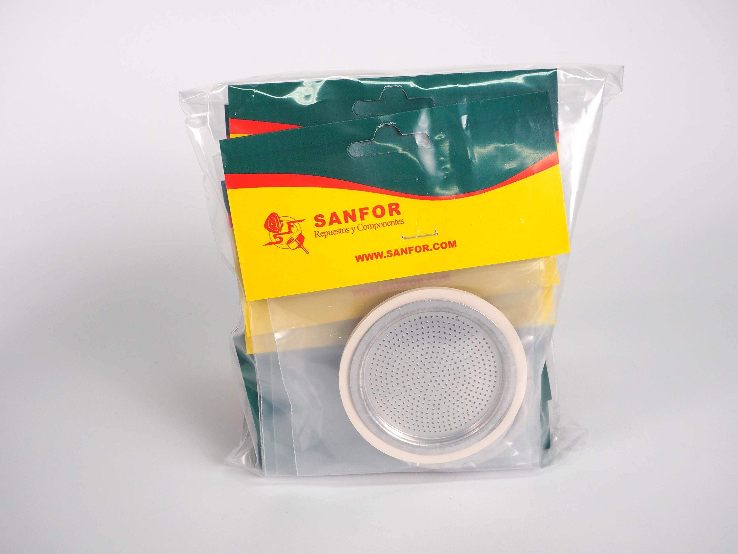 Sanfor 80256 Caja 100 Blíster Filtro+Junta Cafetera 6 Tazas ...