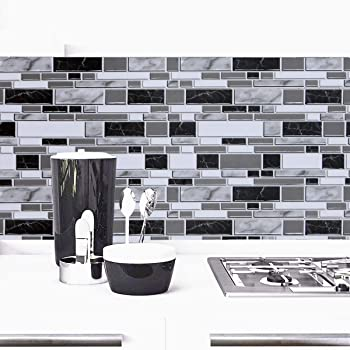 Black And White Peel And Stick Wallpaper For Kitchen 11 8inch X 78 7inch Kitchen Wallpaper Bathroom Self Adhesive Wall Paper Waterproof Countertop Removable Wallpaper Backsplash Vinyl Film Decoration Amazon Com