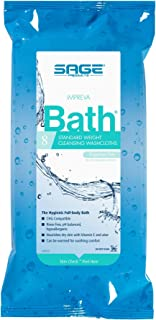 Sage Impreva Bath Cleansing Washcloths - 1 package, 8 cloths - Rinse Free Disposable Bathing Wipes - Hypoallergenic - Stan...