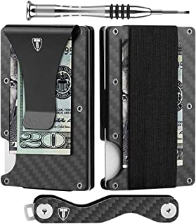 Minimalist Wallet for Men Carbon Fiber Card Holder Money Clip RFID Blocking Slim Front Pocket Wallets with Key Holder