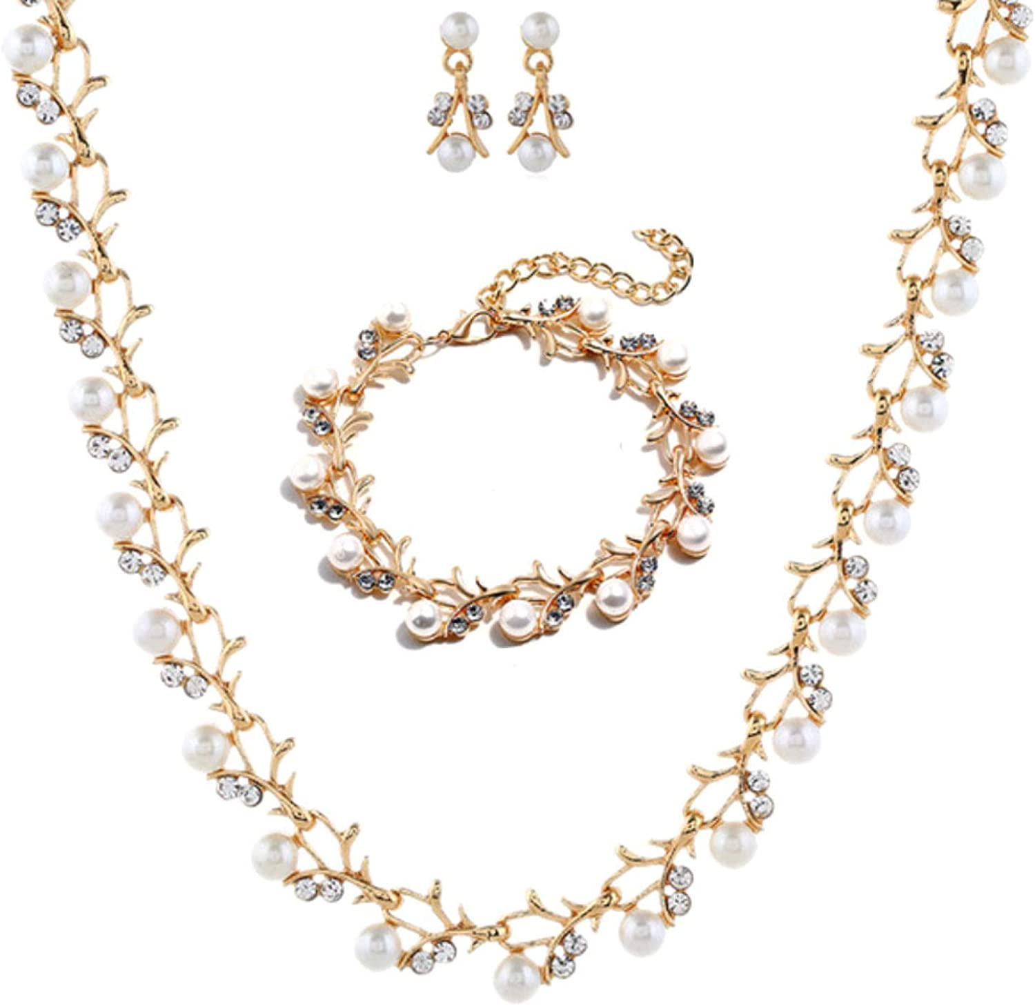 Women's Fashion Luxury goods Jewelry Sets Elegant Faux Our shop OFFers the best service Rhinestone Neck Pearl