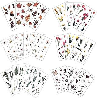 24 Feuilles Stickers Fleurs Plantes Autocollants Fleurs Sticker Auto-adhésif Décoration DIY Cadeau pour Scrapbooking Album...