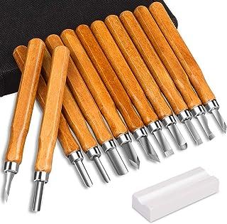 DIAOPROTECT - Juego de herramientas para tallar madera, 12 unidades, con piedras de afilar para niños, principiantes y profesionales, para madera, frutas, verduras, carving DIY, escultura y cera