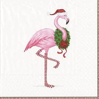 Entertaining with Caspari Christmas Flamingo Cocktail Napkins, White
