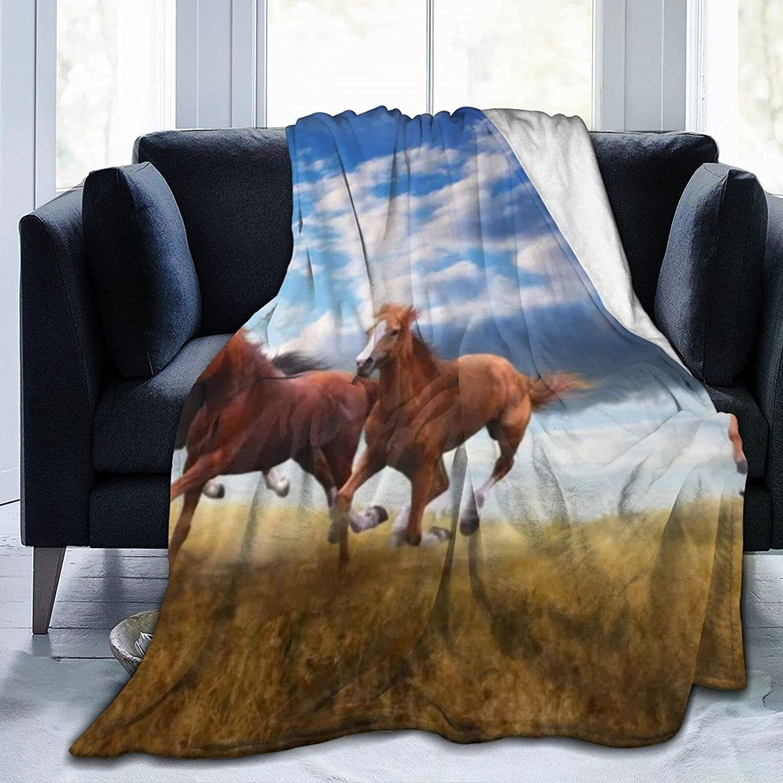 Wild Horses Popular standard Gallop Microfiber Lightweight Flannel Blankets SALENEW very popular Fuzz
