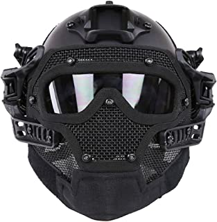 HYOUT Fast Tactical Helmet Combined Full Mask Goggles Airsoft Paintball CS