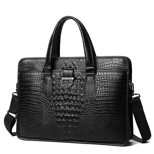 7e8efcfb4d07 BOSTANTEN Cow Leather Formal Shoulder Bag Messenger Briefcase for Men Black  Crocodile