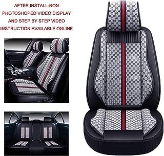 Oasis Auto OS-007 Universal Leather Seat Covers Car and SUV Cushion Automotive Vehicle Interior Accessory Replacement: Honda-Toyota-Nissan-Subaru-Jeep-Hyundai-Mazda-KIA-Ford-Chevy-Acura-VW-Lexus-BMW