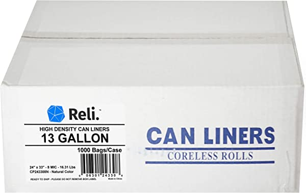 Reli 13 Gallon Trash Bags 1000 Count Bulk Clear Trash Bags 13 Gallon In Bulk Recycling Clear Can Liners 13 Gallon 16 Gallon Tall Kitchen 13 Gal
