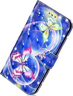 Herbests Etui skórzane kompatybilne z Huawei Mate 20 Pro, kolorowe etui 3D z brokatem, błyszczące, skórzane, etui ochronne...
