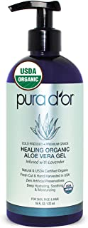 PURA D'OR Organic Aloe Vera Gel Original Lavender (16oz) USDA Certified - Deeply Hydrating, Moisturizing Skin & Hair - Sunburn, Bug Bites, Rashes, Small Cuts, Eczema Relief (Packaging may vary)
