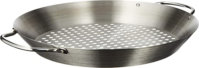"""Tablecraft 12"""" Diameter Stainless Steel Grill Pan with Handles, Silver"""