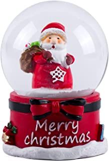WOBAOS Snow Globes Musical with Dancing Snowflakes,Handmade Water Ball Crafts,Thanksgiving,Birthday,Christmas and New Year's Gift(Red, Diameter 65mm)