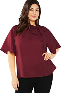 511cdb8144 SheIn Women's Plus Size Casual Side Bow Tie Neck Short Sleeve Blouse Shirt  Top