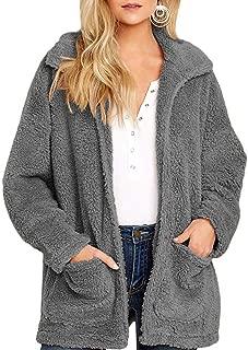 Womens Coat Casual Lapel Fleece Fuzzy Sherpa Warm Winter Oversized Outwear Jackets