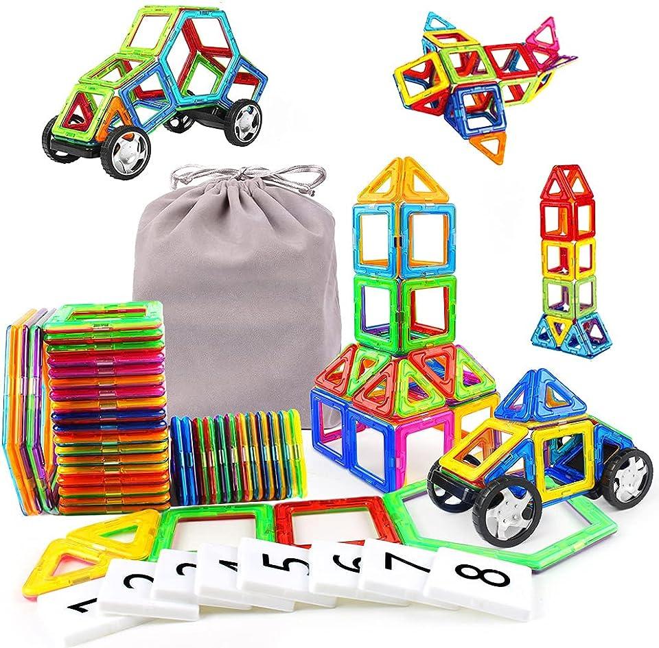 KIDCHEER Magnetisch Baustein mit Räder 48 Stück Magnetspielzeug Kinder 3D Bausteine Lernspielzeug mit MEHRWEG Aufbewahrungstasche Junge Mädchen ab 3 4 5 6 7 8 9 Jahre, Bunt