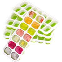 4-Pack OMorc Flexible Easy-Release Silicone Ice Cube Trays with Lid