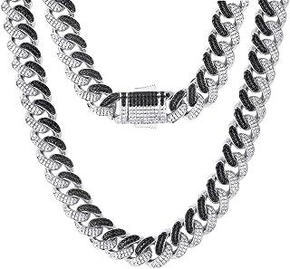 KRKC&CO 12mm Mens Iced Out Cuban Link Chain Hip Hop 14k Gold Cuban Curb Necklace, Cuban Link Choker, Prong-Setting 5A Cubi...