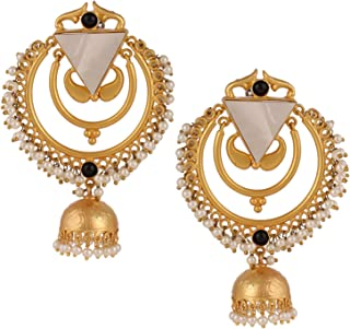 Bollywood style Pearls Chand Bali Jhumka Earrings for Women