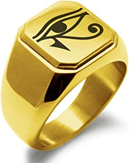 Stainless Steel Egyptian Eye of Horus Symbol Square Flat Top Biker Style Polished Ring