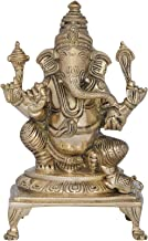 Lord Ganesha in Royal Ease Posture Seated on a Chowki - Brass Statue