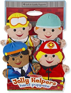 "Melissa & Doug Jolly Helpers Hand Puppets, Puppet Sets, Construction Worker, Doctor, Police Officer, and Firefighter, Soft Plush Material, Set of 4, 14"" H x 8.5"" W x 2"" L"