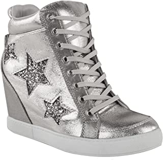 Fashion Thirsty Womens Hidden Wedge Lace Up High Top Sneakers Glitter Star Shoes