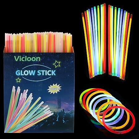Vicloon Bâtons Lumineux,100pcs Bracelets Fluorescents avec Connecteur,Lumineux Fluorescents pour Les Carnavals,Fêtes,Festivals