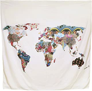 Arfbear World Map Tapestry, tapices de pared amarillo pú