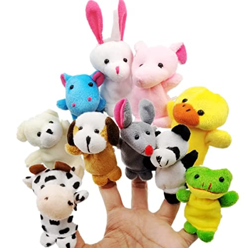 JZK 10 Animal Finger Puppet Set Small Plush Toy Hand For Children Kids Party