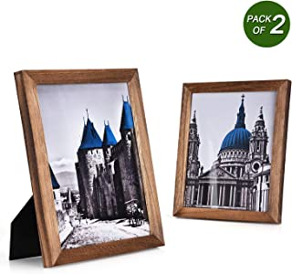 Emfogo 8x10 Picture Frames Rustic Wood Picture Frames with High Definition Glass for Wall or Tabletop Display Set of 2 Carbonized Black