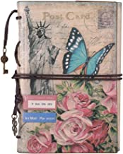 Leather Journal Notebook, MALEDEN Vintage Travel Journal for Women Refillable Sketchbook Diary Planner with Unlined Pages and Zipper Pocket