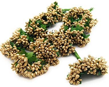 SATYAM KRAFT Artificial Pollen Flowers for Home Decoration and Craft (Golden, 12 Bunch of 12 Pollen Each)