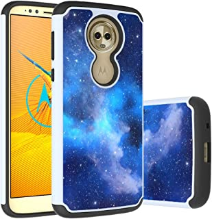Moto E5 Plus Case, E5 Supra Case, Yuanming Hybrid Dual Layer TPU & Hard Back Cover Bumper Protective Shock-Absorption & Skid-Proof Anti-Scratch Hybrid Case for Moto E Plus (5th Generation) (Blue)