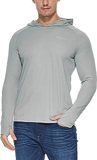 Men's UPF 50+ Sun Protection Hoodie Long Sleeve SPF/UV Quick Dry Lightweight Fishing Workout Thumbholes Shirt