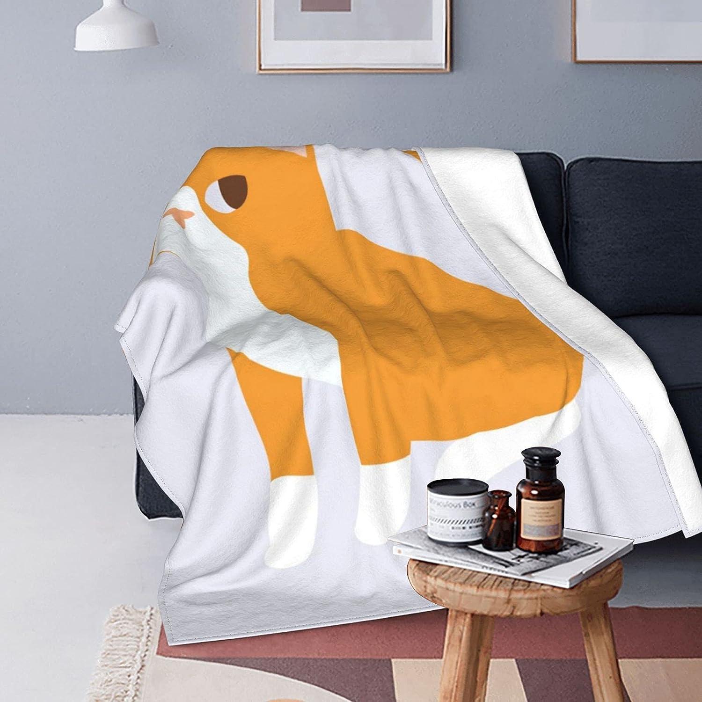 YAMADEI Super Boston Mall Soft Flannel Blanket and Orange Comfortable Baltimore Mall Cat Wa