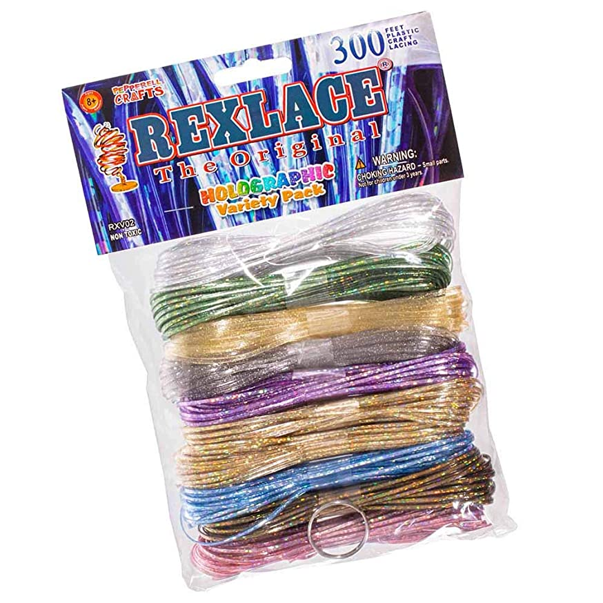 Craft County - Rexlace Variety Pack - 300 Feet Plastic Craft Lacing - Holographic Core Colors