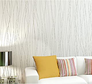 Blooming Wall:Non-Woven Classic Plain Stripe Moonlight Forest Textured Wallpaper,20.8 In32.8 Ft=57 Sq ft Per Roll, Pure White