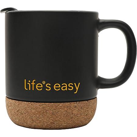 Amazon Com Dowan Coffee Mugs Set Of 2 15 Oz Ceramic Mug With Insulated Cork Bottom And Splash Proof Lid Large Coffee Mug With Handle For Men Women Matte Grey Kitchen Dining